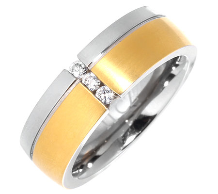 DIAMONIQUE® TITAN = 0,03ct Trilogie-Ring bicolor