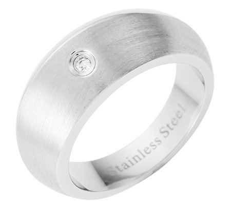 STEEL BY DESIGN Edelstahl Solitär-Ring 1 Diamant 0,015ct. poliert/mattiert