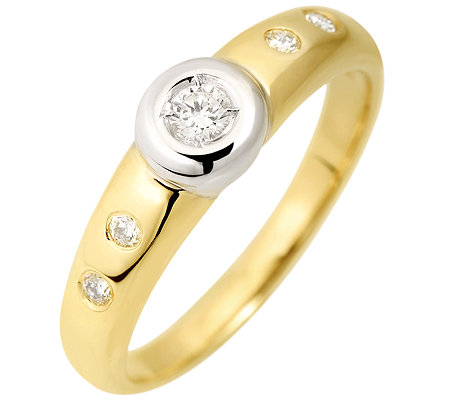 5 Brillanten zus.ca.0,15ct. Weiß/P1 Ring Gold 585