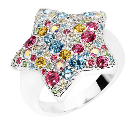 LONDON COLLECTION Ring Stern Swarovski Kristalle rhodiniert