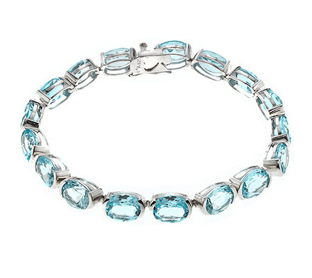 beh. Blautopas 42,50ct oval 10x8mm Armband Silber 925