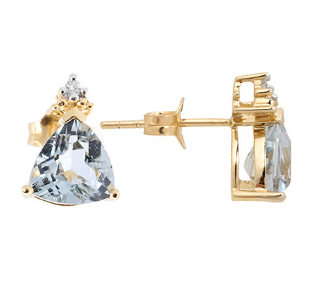 Cumaru Aquamarin Triangel 2,10ct 2 Brill.0,01ct Ohrstecker Gold 585
