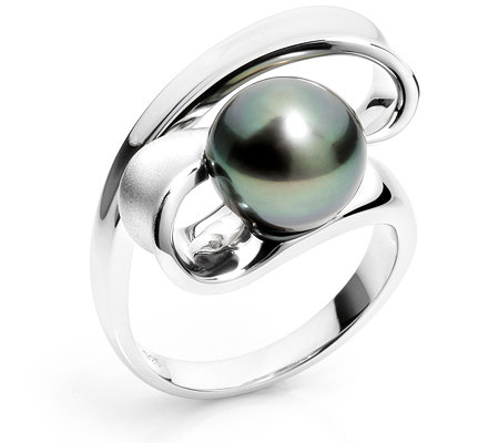 PERLFEKT Tahitiperle 10-10,9mm Cocktail-Ring Silber 925,rhodiniert