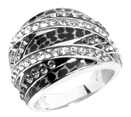 SIGAL STYLE Swarovski Kristalle Emaille-Lack Cocktail-Ring Silber 925,rhod