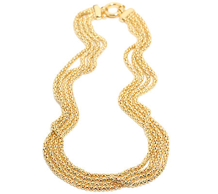VERONESE COLLECTION Silber 925 4 reihiges Collier Länge ca.46cm 18K vergoldet