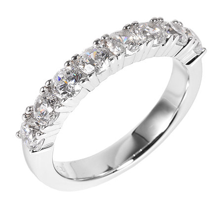 DIAMONIQUE® = 1,28ct Brillantschliff Eternity-Ring Silber rhodiniert
