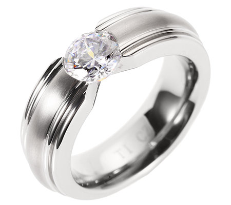 DIAMONIQUE® TITAN = 1,00ct Solitär-Ring poliert/mattiert