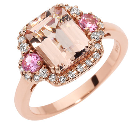 Morganit 1,80ct. Pink Saphir 0,20ct. 26 Brillanten 0,20ct. Ring Roségold 585