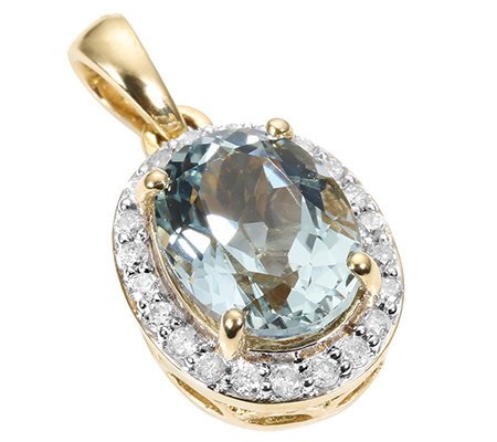 Cumaru Aquamarin oval 1,95ct 22 Brill.0,17ct Anhänger Gold 585
