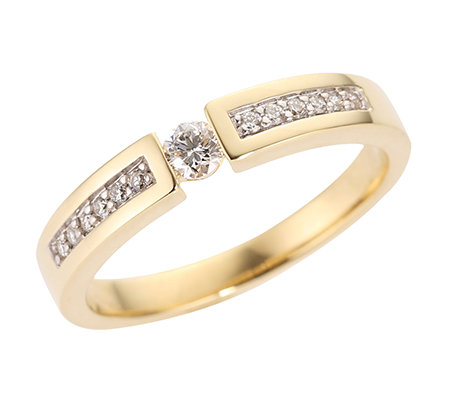 FIRST DIAMOND 13 Brillanten zus.ca.0,20ct. Weiß/P1 Ring, Gold 375