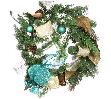 weihnachtlicher t rkranz mit federn tannenzapfen ca. Black Bedroom Furniture Sets. Home Design Ideas