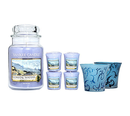 YANKEE CANDLE Duftkerzen-Set Coastal Waters mit Glashaltern 49-623g, 7-tlg.