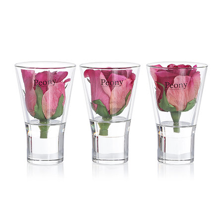 peony kunstblumen rosenk pfe glas vase ca 11cm 3 tlg page 1. Black Bedroom Furniture Sets. Home Design Ideas