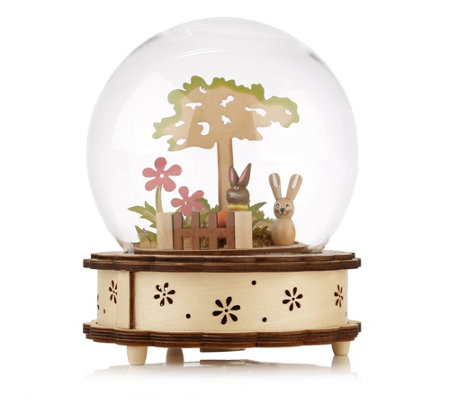 lumida casa holz spieluhr glaskuppel timerfunktion ca 15x19cm page 1. Black Bedroom Furniture Sets. Home Design Ideas