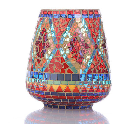 ELAMBIA flammenl. Kerze Timerfunktion Mosaik-Windlicht 2 ...