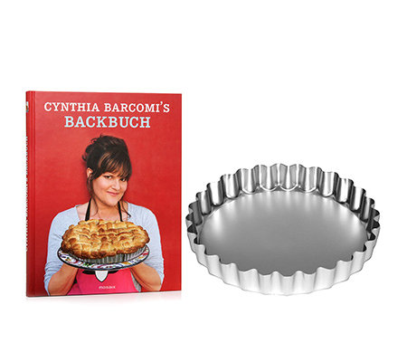 CYNTHIA BARCOMI Backbuch-Set 80 Rezepte & Pie & Tarte Form 25cm, 2tlg.