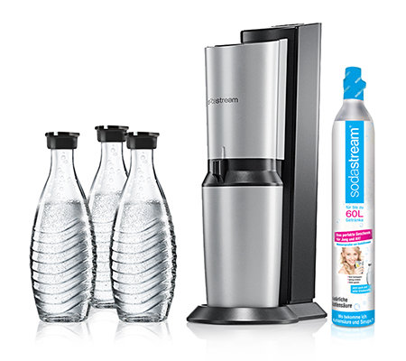 sodastream wassersprudler crystal 3 glaskaraffen 1 co2. Black Bedroom Furniture Sets. Home Design Ideas