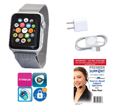 Apple Stainless Steel Watch 38mm, Milanese Loop& Tech Support