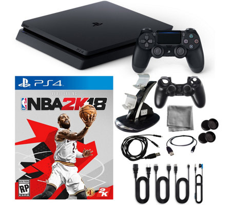 PlayStation 4 1TB Slim Console with NBA 2K18 &Accessories