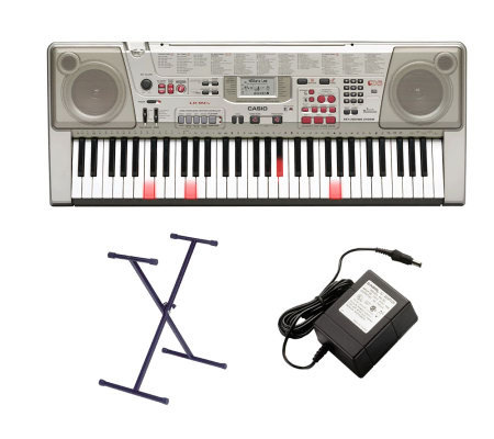 casio lk94tv 61 lighted key keyboard with midi stand adapter. Black Bedroom Furniture Sets. Home Design Ideas