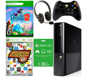 Xbox 360 E 4GB Bundle Peggle 2, Fuzion Frenzy 2, Accessories - E288801