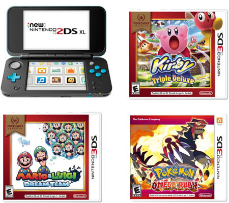 Nintendo 2DS XL Black/Turquoise Bundle with Three Games