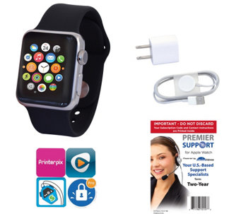 Apple Stainless Steel Watch 42mm w/ Sport Band& Tech Support - E285802