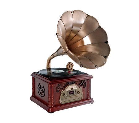 Pyle Classical Trumpet Horn Turntable/Phonograph