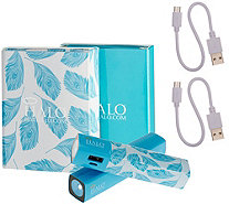 Halo Set of 2 Shine 3000 mAh Portable Chargers with Flashlight - E229307