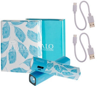 Halo Set of 2 Shine 3000 mAh Portable Charger with Flashlight - E229307