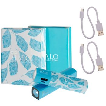 Halo Set of 2 Shine 3000 mAh Portable Chargers with Flashlight