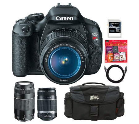 Canon EOS Rebel T3i DSLR Camera 3 Lens Bundle