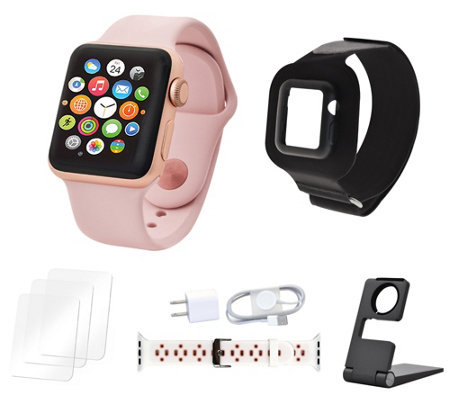 Apple Watch Series 3 38mm Sport Bundle w/ Extra Band & Accessories
