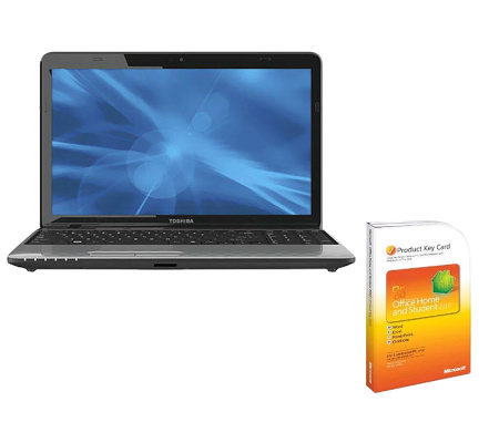 "Toshiba 15.6"" Laptop 4GB RAM, 500GB HD, Microsoft Office Suite"