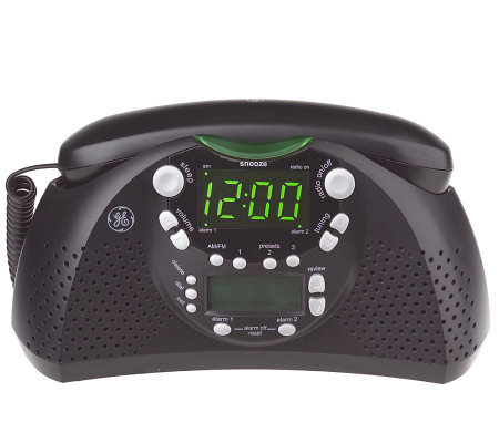 ge dual alarm am fm clock radio and bedroom phone w caller id. Black Bedroom Furniture Sets. Home Design Ideas