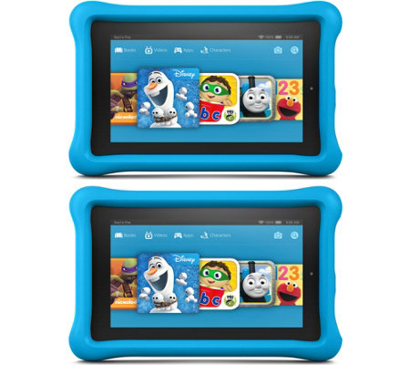 "Amazon Set of 2 Kids 7"" Tablets 8GB Wi-Fi with Bumper,Software & 2YR Warranty"