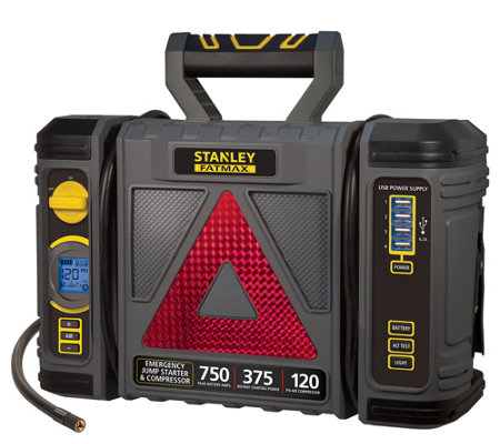 Stanley 750 Peak Amp Jump Starter with Reflector and Storage