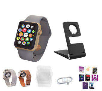 Apple Watch Series 1 with 38mm Face, 2 Extra Bands, Stand &App Pack - E230111
