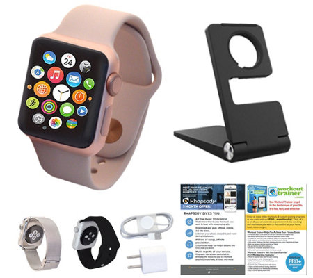 Apple Watch 38MM Series 2 with Stand, 2 Extra Bands & Addtl. Software