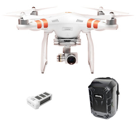 DJI Phantom 3 Standard Drone Hard Backpack, Extra Battery, HD Wifi Stream