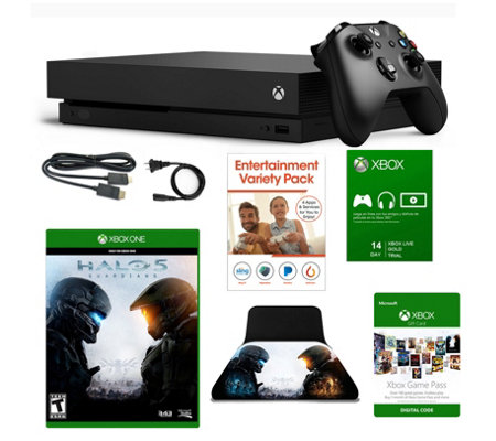 Xbox One X 1TB Console with HALO 5, 1 Mo. GamePass & Accs.