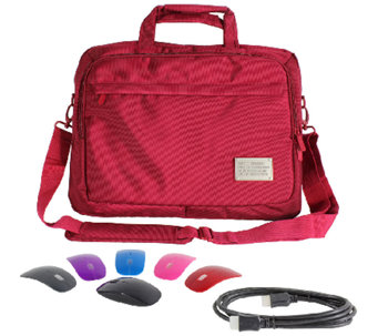 "ToteIt! Deluxe 15"" Laptop Case w/ Switch Lid Wireless Mouse & 6' HDMI Cable - E226921"
