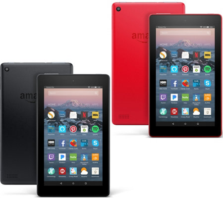 "All-New 2017 Amazon Fire 7"" Set of 2 Tablet w/ Custom Cases & App Packages"