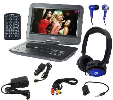 "Naxa 10"" TFT LCD Swivel Portable DVD Player with Accessories"