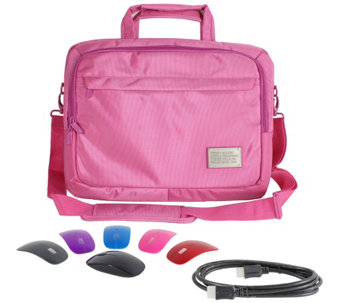 "ToteIt! Deluxe 17"" Laptop Case w/ Switch Lid Wireless Mouse & 6' HDMI Cable - E226923"
