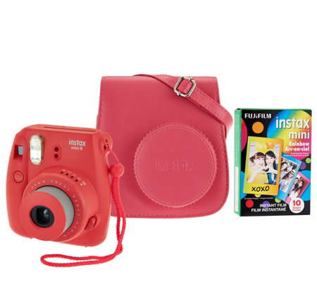 Fujifilm Instax Mini 8 Instant Print Camera w/ Colored Case & 10 Film Sheets