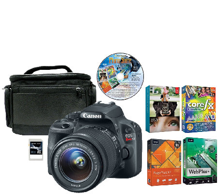 Canon EOS Rebel SL1 18MP DSLR Camera, Case, Card & Software