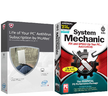 McAfee Antivirus and System Mechanic Life of 1 PC