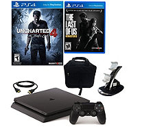 Sony PS4 Slim 500GB Uncharted 4 Bundle w/ The Last of Us - E290025