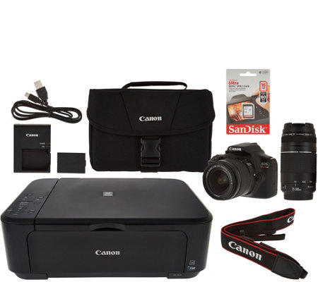 Canon Rebel T6 18MP DSLR Wi-Fi Camera w/18-55, 75-300mm Lens & MG3620 Printer